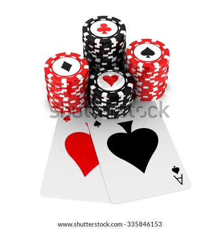 3d renderer image. Poker cards and chips. Casino concept, isolated white background. - stock photo
