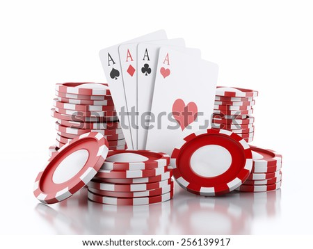 3d renderer image. Red casino tokens and Playing Cards. Casino concept, Isolated white background - stock photo