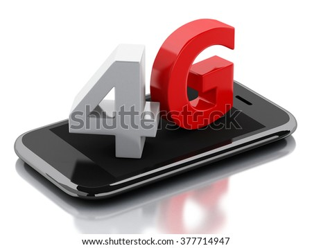 3d renderer image. Smart phone with 4G LTE wireless sign. Communication technology concept. Isolated white background - stock photo