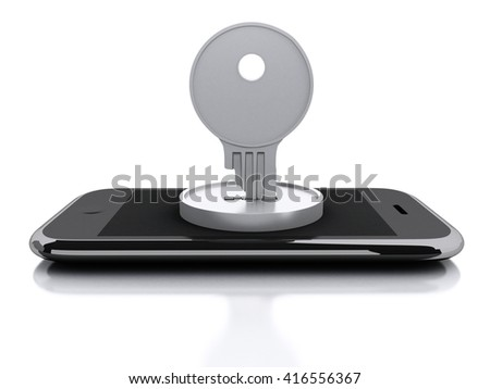 3d renderer image. Smartphone locked with key. Security concept. Isolated white background. - stock photo