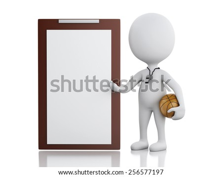 3d renderer image. White basketball coach with Clipboard and ball. Isolated white background - stock photo