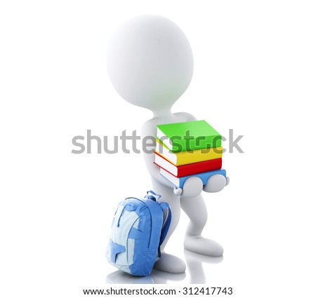 3d renderer image. White people carrying a stack of books. Education concept. Isolated white background - stock photo