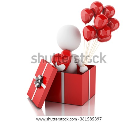 3d renderer image. White people in love with red heart and balloons. Valentines Day. Isolated white background - stock photo