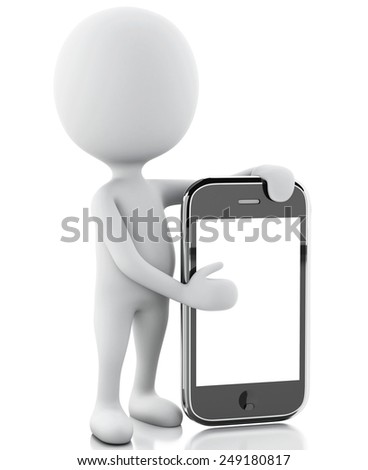 3d renderer image. White people next to the smartphone. Isolated white background  - stock photo