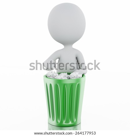3d renderer image. White people recycle trash can. Isolated white background - stock photo