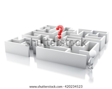 3d renderer image. White people with a maze and question mark. Success challenge. Isolated white background. - stock photo