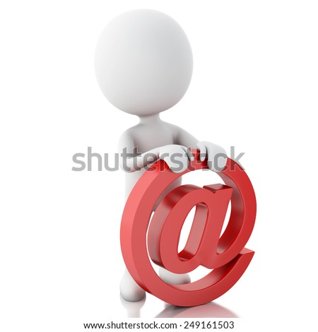 3d renderer image. White people with email symbo. Isolated white background - stock photo