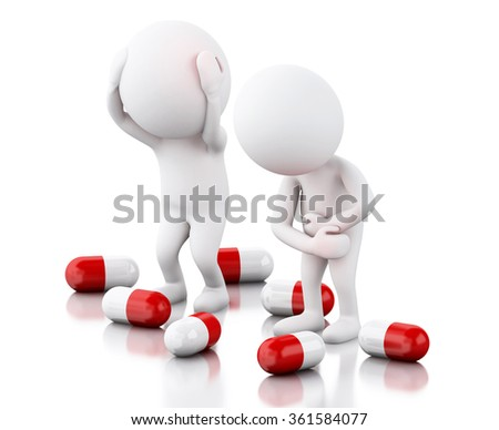 3d renderer image. White people with pain needs pills. Medicine concept. Isolated white background - stock photo