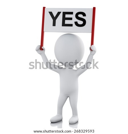 3d renderer image. White people with sign board banner. Isolated white background - stock photo