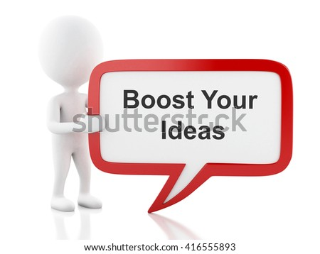 3d renderer image. White people with speech bubble that says Boost Your Ideas. Business concept. Isolated white background. - stock photo