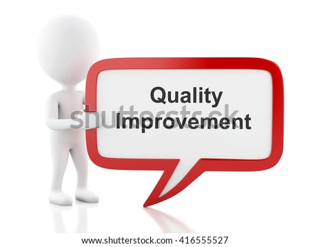 3d renderer image. White people with speech bubble that says Quality Improvement. Business concept. Isolated white background. - stock photo