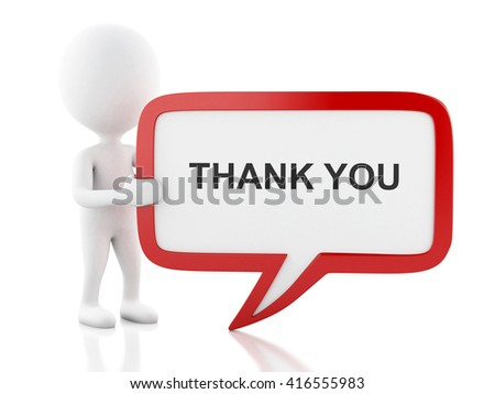 3d renderer image. White people with speech bubble that says thank you . Business concept. Isolated white background. - stock photo