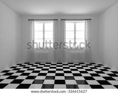 3d rendering. A room with white walls panels. Checkerboard tile on the floor - stock photo