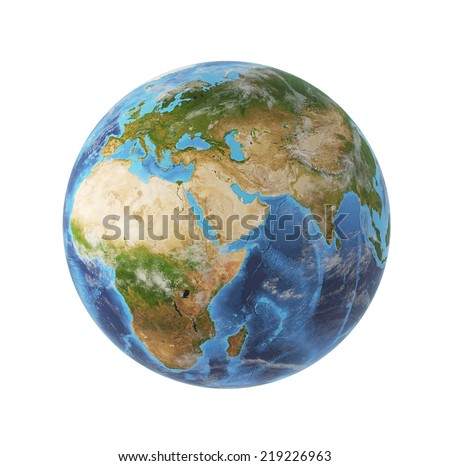 3d rendering, Africa and Asia view. Elements of this image furnished by NASA  - stock photo