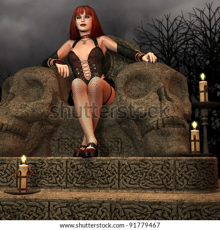 3D Rendering Amazon on a throne - stock photo