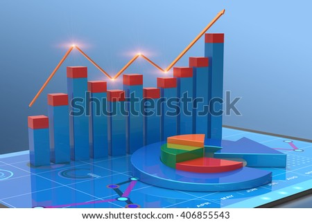 3D Rendering analysis of financial data in charts, accounting, business finance, taxes, banking, statistics, vision for the future  - stock photo