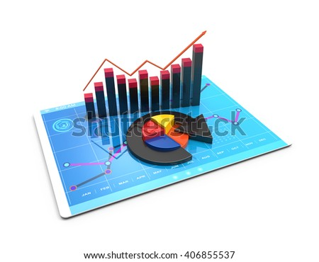 3D Rendering analysis of financial data in charts, accounting, business, taxes, banking, statistics, vision for the future  - stock photo