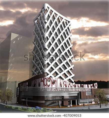 3d rendering and design - administrative tower - main view - stock photo