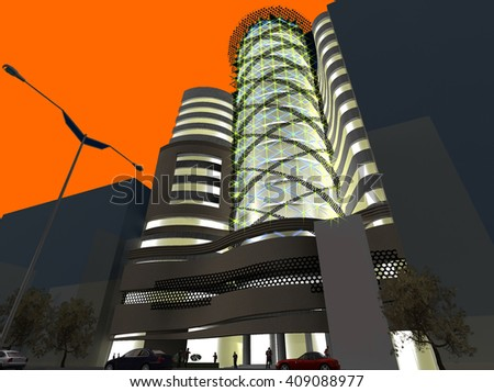 3d rendering and design - administrative tower - night view - stock photo
