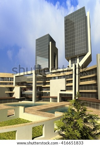 3d rendering and design - administrative towers - entrance - stock photo