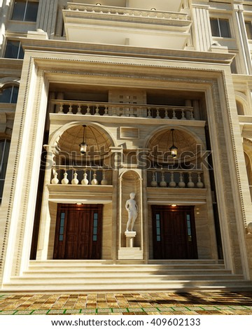 3d rendering and design - classical building - entrance - stock photo