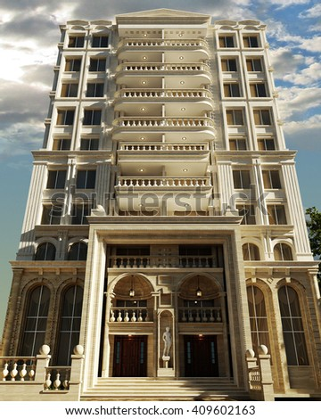 3d rendering and design - classical building - facade - stock photo