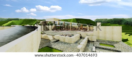 3d rendering and design - coffee shop - fountain  - stock photo