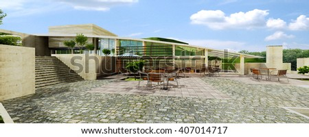 3d rendering and design - coffee shop - yard - stock photo