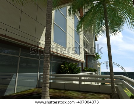 3d rendering and design -  hotel - terrace - stock photo