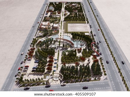 3d rendering and design - landscape - general view - stock photo