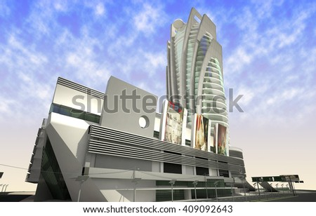 3d rendering and design - shopping mall and administrative tower - back view - stock photo