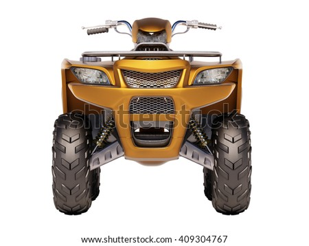 3d rendering. ATV quad bike isolated on white background - stock photo