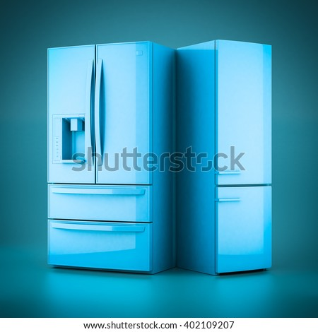 3D rendering beautiful refrigerator on a blue background - stock photo