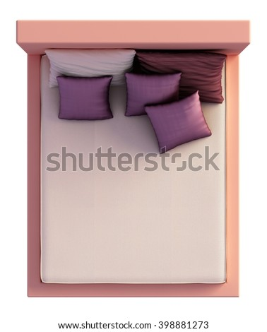 3D Rendering Bed Top View Isolated On White - stock photo