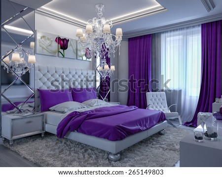 3d rendering bedroom in gray and white tones with purple accents - stock photo