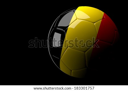 3d rendering Belgium soccer ball on dark  background - stock photo
