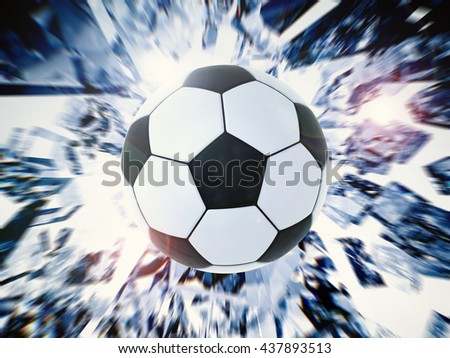 3d rendering black and white soccer ball with broken glass background - stock photo