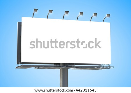 3d rendering blank billboard - stock photo