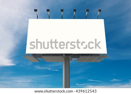 3d rendering blank billboard with blue sky background - stock photo