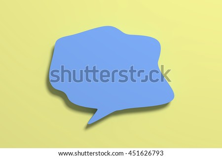 3D rendering blank blue speech sign on yellow background.Isolated. - stock photo