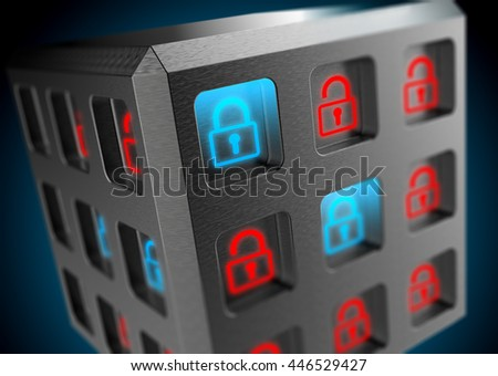 3D rendering, Blue lock locked safe, red padlock unlocked risk of lost for digital data. Security of information systems background. - stock photo