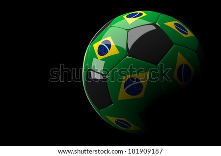 3d rendering Brazil soccer ball on dark  background - stock photo