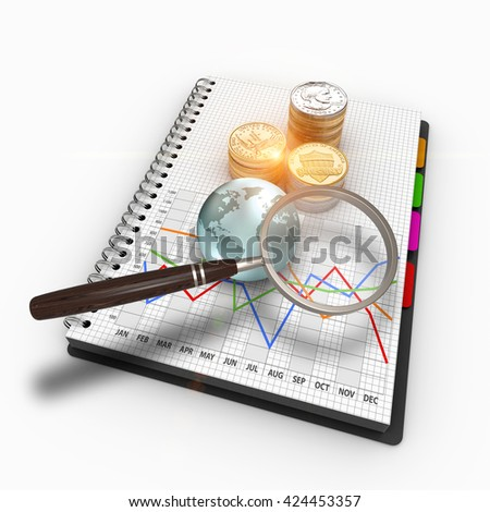 3D rendering business graph, a magnifying glass and stacks of US coins. Market analysis with the graph and magnifier. Report and market research in notebook - stock photo