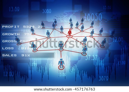 3d rendering business network concept - stock photo