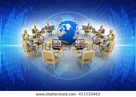 3d rendering business people seated on chair and connected with computer around a world behind a round table - stock photo