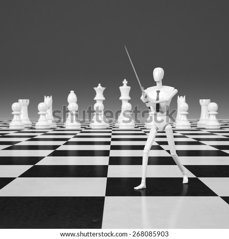 3d rendering Businessman fighting, playing chess - stock photo