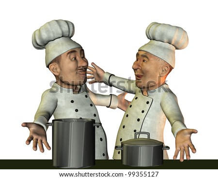 3D Rendering Chef and kitchen boy happy - stock photo