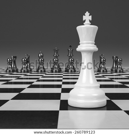 3d rendering chessmen on glossy chessboard - stock photo