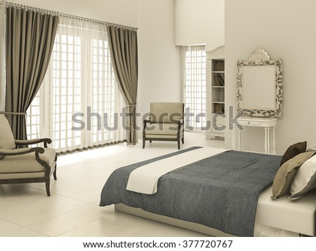 3d rendering classic bedroom with warm tone - stock photo