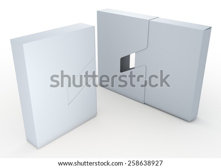 3D Rendering Clean White Packaging Container Design 2 Piece, Jacket Case Cover Sliding Function in Isolated background with Work Paths, Clipping Paths Included. - stock photo